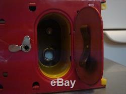 LARGE Vintage Xmas Metal Battery Operated Toy Santa Soft Head Sleigh Reindeer
