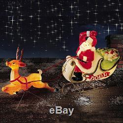 LIGHTED SANTA REINDEER SLEIGH WITH SLED BLOW MOLD OUTDOOR CHRISTMAS YARD DECOR