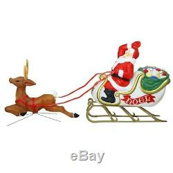 Lighted Santa Reindeer Sleigh With Sled Blow Mold Outdoor Christmas Yard Decor