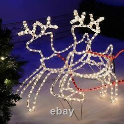 Large 3D Rope Light Silhouette Reindeer Santa on Sleigh 240cm Xmas Decor New