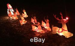Large Blow Mold Santa, Sleigh, 9 Reindeer, Rudolph, Complete Set! Empire, Grd. Venture