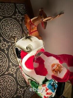 Large General Foam Lighted Christmas Blow Mold Santa & Sleigh WithReindeer Vintage
