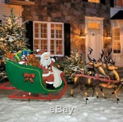 Large Santa Claus Reindeer Sleigh Metal Yard Art Display Outdoor