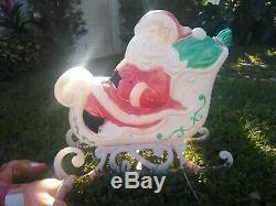 Large SANTA on Sleigh + 2 Reindeer Blow Mold Lawn Ornament