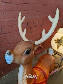 Large Santa Claus In Sleigh Sled And Reindeer Vintage Blow Mold Yard Decoration