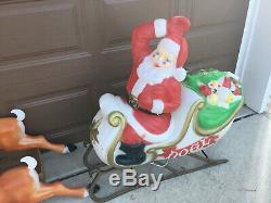 Large Santa Sleigh & 5 Reindeer Blowmold Empire Christmas Vintage Blow Mold