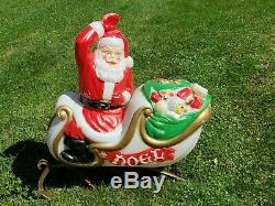 Large Santa, Sleigh and 9 Reindeer Light Up Blow Molds By Empire