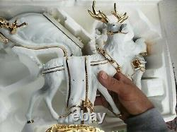 Large TRADITIONS White Porcelain Santa & Sleigh and Reindeer Gold Accents 270369
