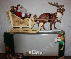 Large Vintage Animated Musical Christmas Reindeer & Santa on Sleigh 1999 PP26