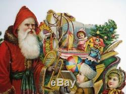 Large Vintage Christmas Die Cut with Santa, Sled, Reindeer & Kids
