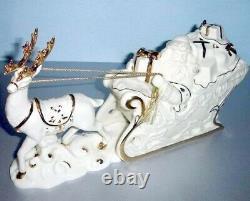 Lenox Santa With Sleigh & Reindeer Christmas Figurine 12.5 Long 6417059 New
