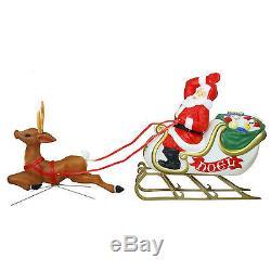 Light-Up Santa Sleigh Reindeer Christmas Decoration Outdoor Blowmold Art Vintage
