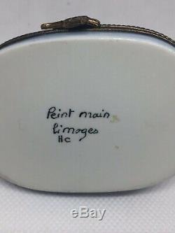 Limoges Peint Main Xmas SANTA SLEIGH Reindeer SIGNED withcertificate & Box