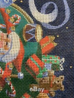 Liz Hand-painted Needlepoint Canvas Santa & His Sleigh & Reindeer