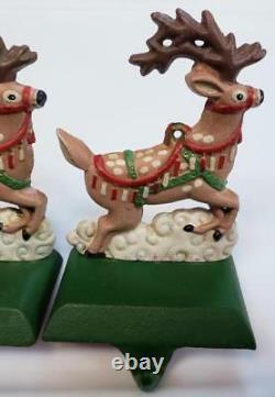 MIDWEST SANTA in SLEIGH & 2 REINDEER CHRISTMAS STOCKING HOLDER Hanger SET