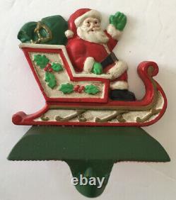 MIDWEST SANTA in SLEIGH & 2 REINDEER Christmas Stocking Hanger Holder Cast Iron