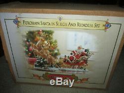 MINT! Grandeur Noel 2003 Santa in Sleigh and Reindeer Porcelain Set Christmas