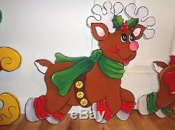 Made To Order, Santa In Sleigh & 2-reindeers Christmas Yard Art Decoration
