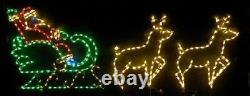 Med Santa Claus Sleigh w Reindeer Outdoor LED Lighted Decoration Steel Wireframe