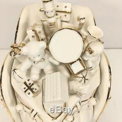 Member's Mark 2005 Porcelain Christmas Santa, Sleigh, & Reindeer 4 Pc Set EUC