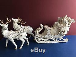 Member's Mark White Porcelain Santa, Sleigh & 2 Reindeer Set W Box Christmas