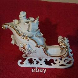 Members Mark Porcelain Christmas Figures Santa Sleigh & 2 Reindeer Gold Accents