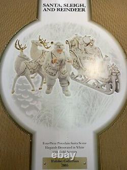 Members Mark Porcelain Christmas Figures Santa Sleigh Reindeer Gold Accents 2005