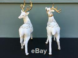 Members Mark Porcelain Christmas Figures Santa Sleigh Reindeer with Gold Accents