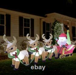 Merry Christmas 3ft Self Inflating Light Up Santa & Reindeer Sleigh self inflate