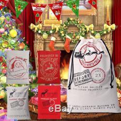 Merry Christmas Santa Sack XMAS Stocking Storage Burlap Huge Lovely Gift Bag