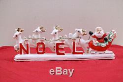 Mid Century Relco Santa, Sleigh & Reindeer NOEL Christmas Candle Holder