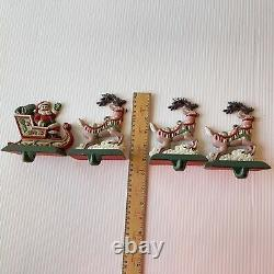 Midwest Cannon Falls Cast Iron Santa Sleigh Reindeer Hanger Stocking Holder FLAW