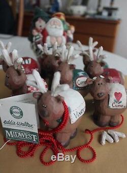 Midwest of Cannon Falls EDDIE WALKER Santa in Sleigh with 8 Reindeer Set