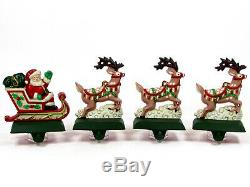Midwest of Cannon Falls SANTA'S SLEIGH & REINDEER Stocking Hanger Set Cast Iron