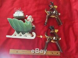 Mod Napco Ceramics Japan sticker Santa Claus Christmas Sleigh Reindeers figure