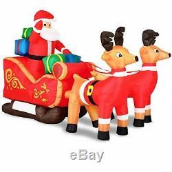 Monzana Santa with Sleigh Reindeer Inflatable 240 cm Christmas Decoration