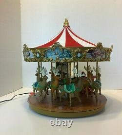 Mr. Christmas Very Merry Carousel Musical Animated Santa Reindeer Sleigh withBox