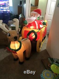 NEW Gemmy Christmas Airblown Inflatable Animated Santa And Reindeer In Sleigh