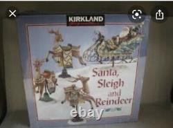 NEW! Kirkland SANTA SLEIGH AND REINDEER Christmas Figurines 4PC Set Old World