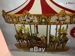 NEW Mr. Christmas Very Merry Animated Musical Carousel withSanta Sleigh Reindeer