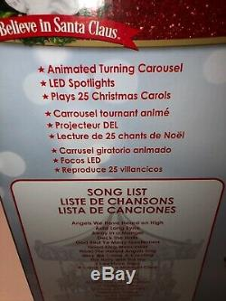 NEW Mr. Christmas Very Merry Animated Musical Carousel withSanta Sleigh Reindeer