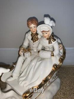 NEW Vintage Heritage Reindeer Sleigh Porcelain Hand Painted Christmas Decor