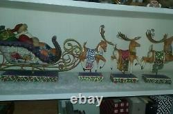NIB 2004 Jim Shore Heartwood Creek 4 Pc Santa In Sleigh With3 Dash Away Reindeers
