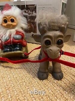 NIB Thomas Dam Lykketrold Santa Troll in Sleigh with2 Reindeer Troll Dolls RARE