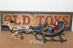 NICE c1906 Hubley Cast Iron Santa in Sleigh with Reindeer Toy #707