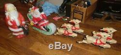 NOS Empire Plastic Corp Blow Mold Light Up Santa Claus Sleigh Reindeer & SANTA