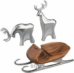 Nambe Christmas Acacia Wood Sleigh with Alloy Metal Reindeer Figurine Set