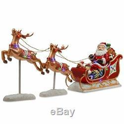 National Tree3x30 Reindeer Pulling 23 Sleigh with Santa Multi LED-Indoor/