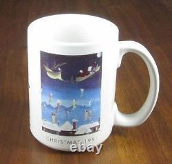 Neiman Marcus 1991 Christmas Coffee Cup/Mug Santa Sleigh Reindeer Stockings EUC