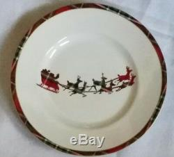 New 222 Fifth Wexford Red Plaid Santa's Sleigh Reindeer Set Of 6 Salad Plates